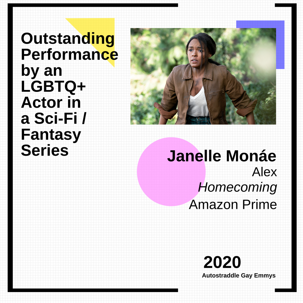Colorful graphic announcing Outstanding Performance by an LGBTQ+ Actor in a Sci-Fi/Fantasy Show: Janelle Monae as Alex, Homecoming. Picture of Janelle Monae as Alex, wearing a white top and green jacket in front of some trees.