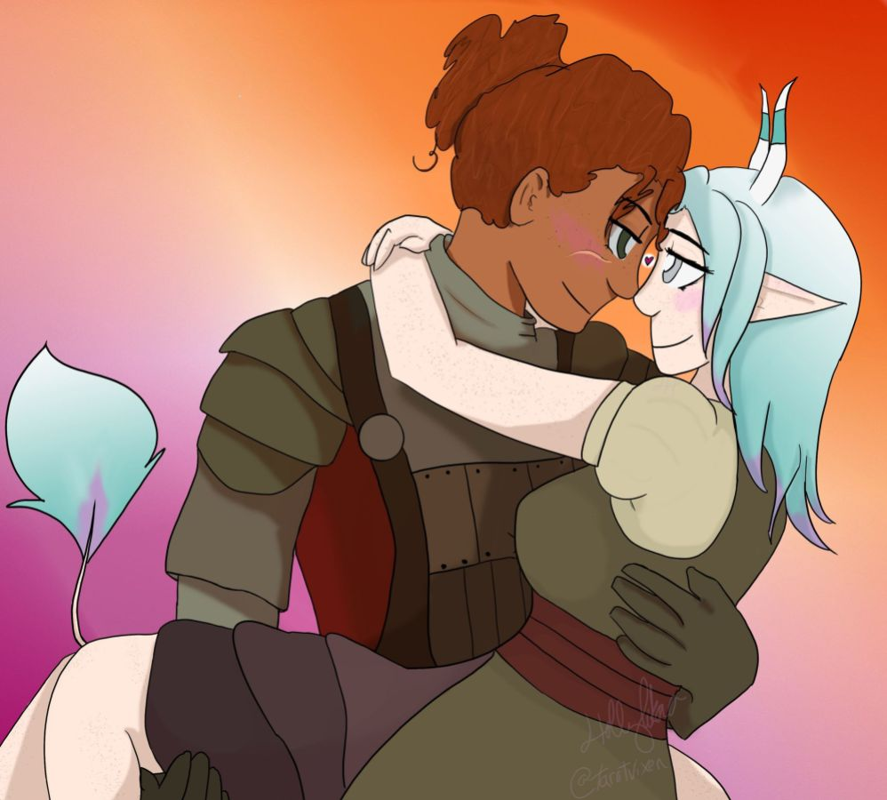 A digital illustration of a light-skinned creature with pointed ears, light blue hair, and small pointy horns being cradled romantically by a figure with medium brown skin and brown curly hair wearing plated armor.