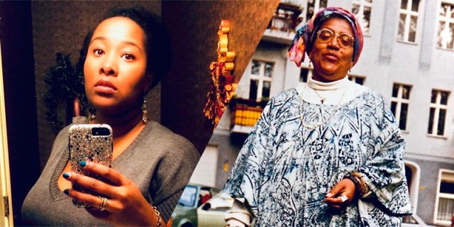A collage of Jehan, the author of the piece, taking a selfie in the mirror placed along side Audre Lorde serving attitude in the face while having her photo taken on a New York City street.