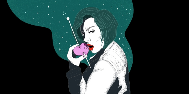 a woman looking back over her shoulder and she's biting into an apple--but the apple is heart-like (euphemism heart, not biological heart). Her face shows expressions of remorse, and guilt. pop-arty, bold colors, clean lines.