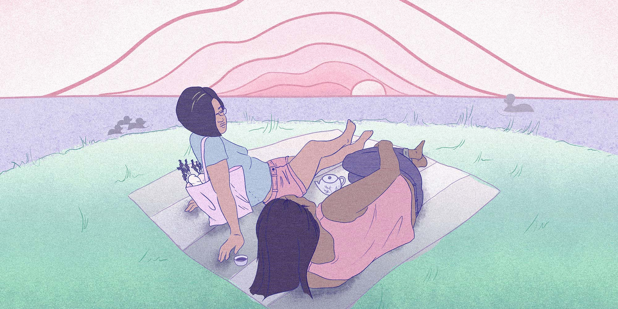 two queers laying on a blanket on the grass in a park near the water, overlooking a pink sunset with a tea set