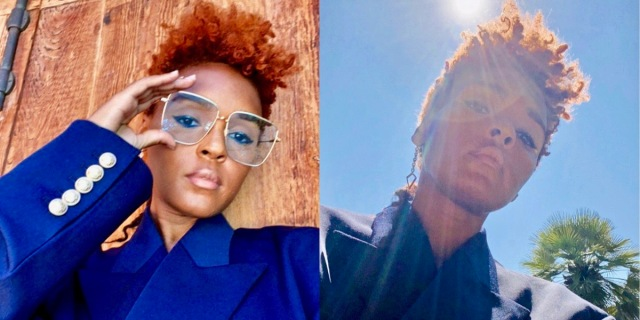 Janelle Monae looks handsome in new closely cropped red hair and big glasses. She's also wearing a blue suit in the sunshine.