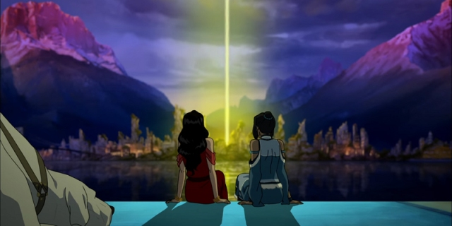 Korra and Asami sit side by side in The Legend of Korra