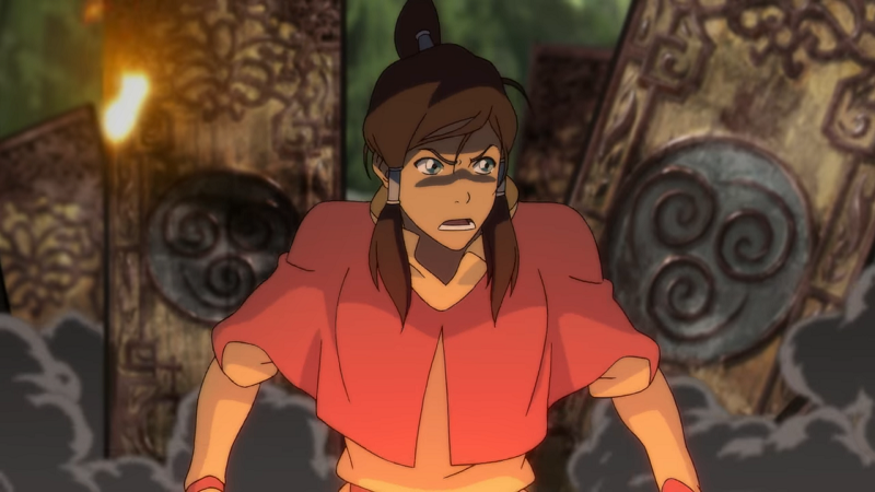 Korra looks around at the 2000-year old airbending training device that she has destroyed in her anger and frustration.