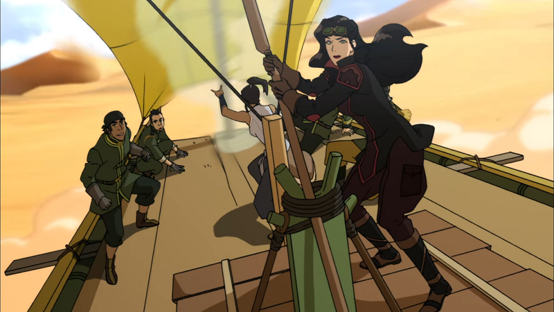Together, Korra and Asami are leading a make-shift sand-sailer through the desert. Asami steers and Korra airbends in the background.