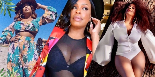 A collage of three photos of Niecy Nash. In the first photo she is wearing a matching two piece mid-drip patterned suit. In the second she is wearing a black net blouse. In the third she wears a white body suit with puffy sleeves.