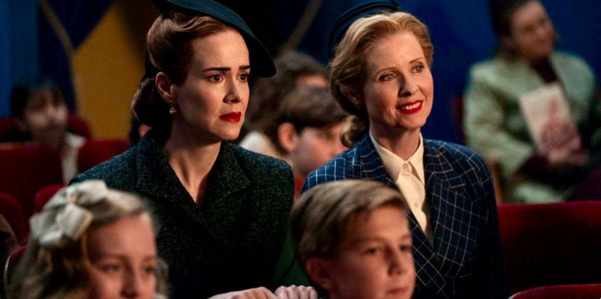 "Sarah Paulson and Cynthia Nixon are 1940s style secret lesbian lovers in Ryan Murphy's new Netflix series ""Ratched."" Here they are on a date together at the movie theatre."