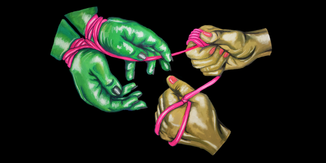 a pair of fat green hands are tied at the wrists with hot pink rope, so the heels of the thumbs are almost touching. across from the green hands, a pair of sinewy brown hands hold the ends of the rope tightly, with the slack wrapped around their fingers