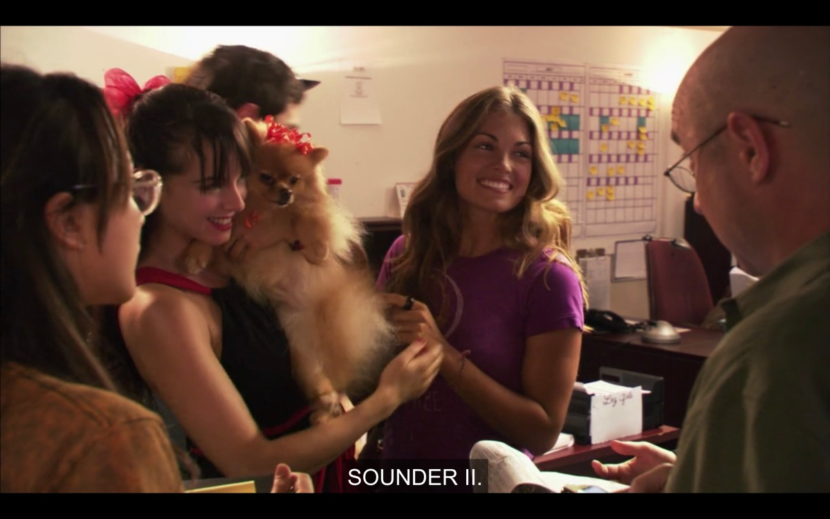 Jenny and Niki presenting Sounder II to Aaron and Tina, suggesting the dog should be in the film