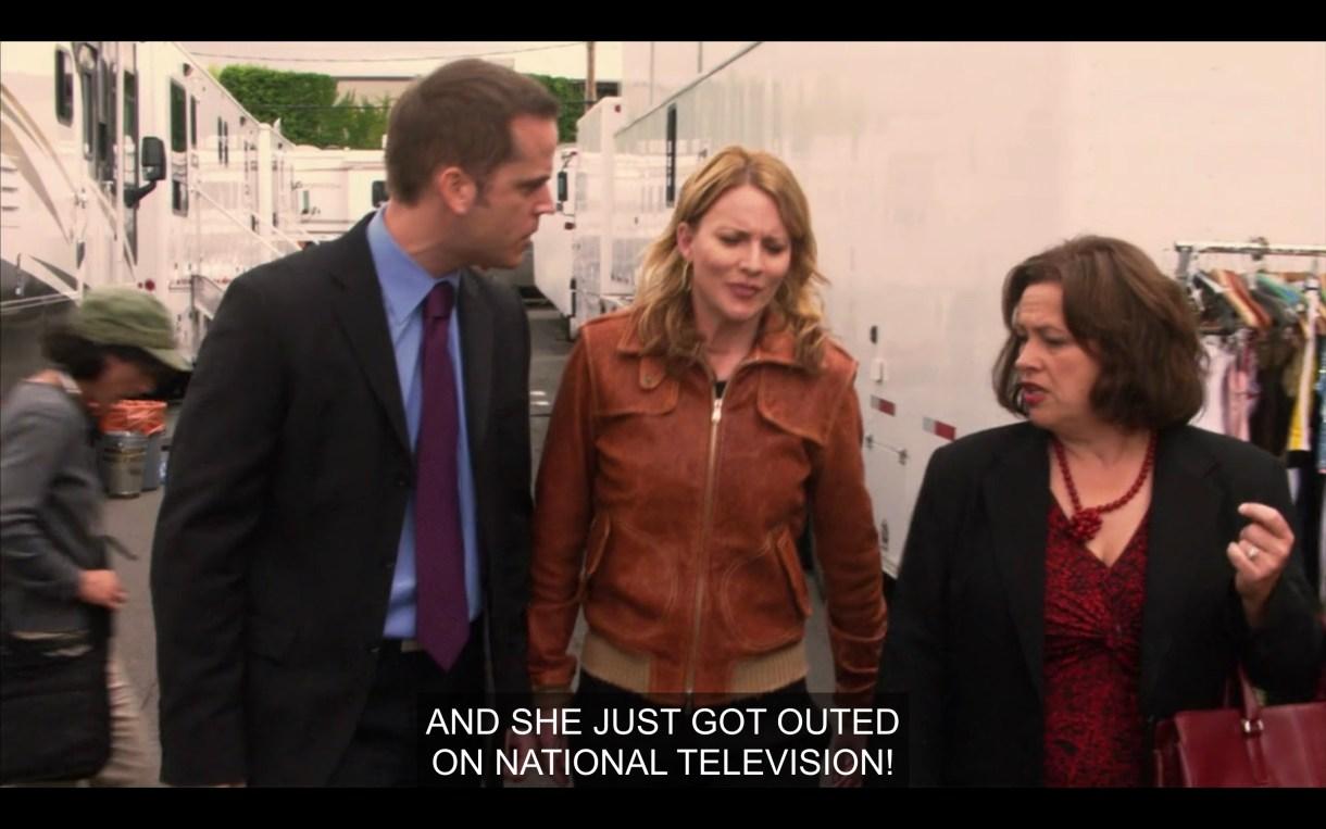 Tina talking to Niki's managers