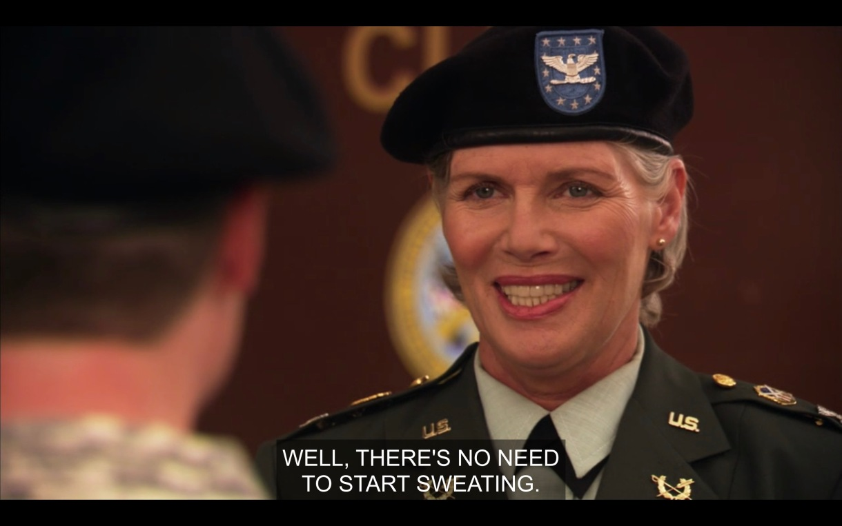 "Colonel Davis on the army base says ""Well, there's no need to start sweating."""