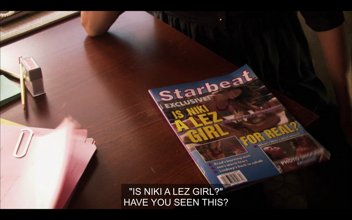 "The cover of ""Starbeat"" magazine reads ""Is Niki a Lez Girl?"""
