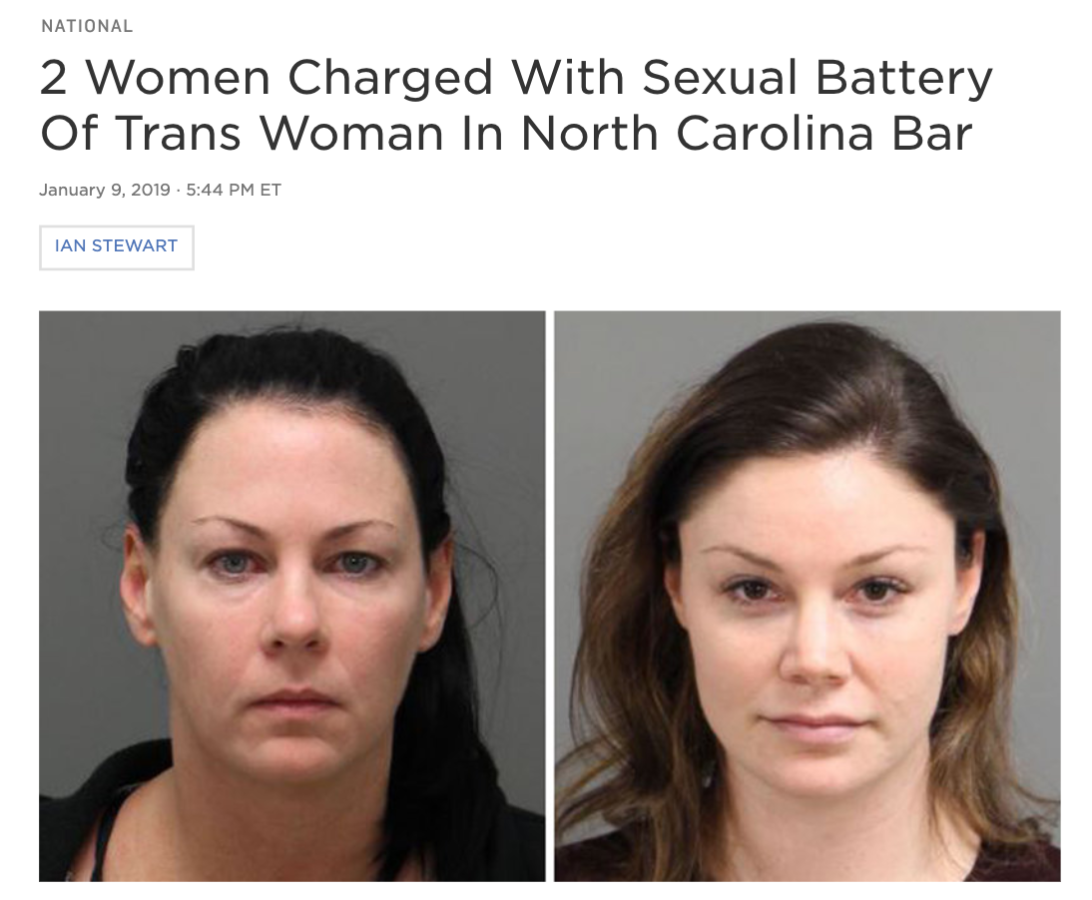 Screenshot of news article with the headline: 2 Women Charged With Sexual Battery of Trans Woman In North Carolina Bar