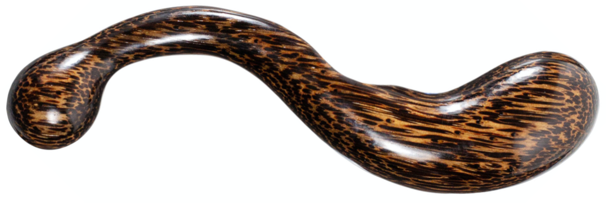 a curving wooden dildo