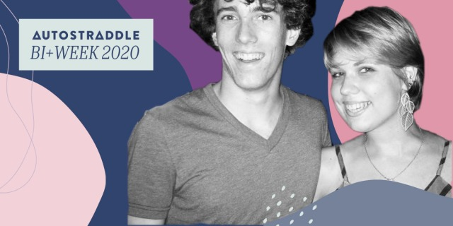 Two young white people with an arm around each other's shoulders smile for the camera; the person on the left is taller and has broad shoulders and curly dark hair; the person on the right is shorter and has a straight pixie cut with a striped tank top on. They stand against a field of shapes and lines in the bi flag colors; in the upper left hand corner a text box reads AUTOSTRADDLE BI+ WEEK 2020.