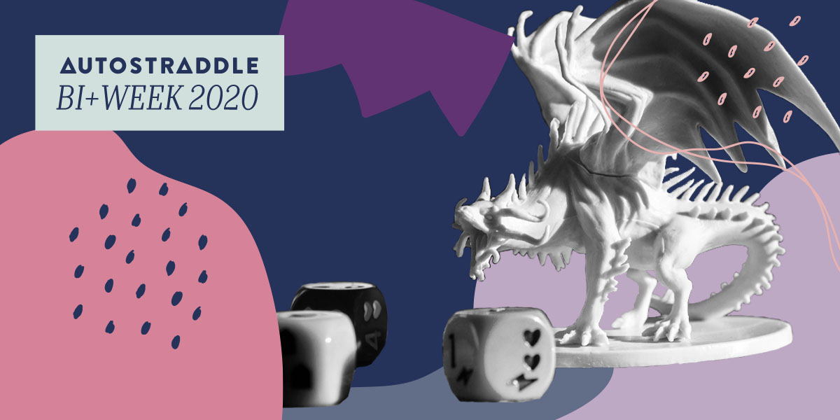 A black & white image of a roaring dragon figurine posed amidst some game dice floats in the midst of a background of shapes & lines in the bi flag colors. In the upper left hand corner, a text box reads AUTOSTRADDLE BI+ WEEK 2020