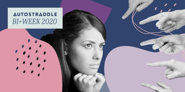 "A woman holds her chin in her hands with a troubled expression while a myriad of hands point at her accusingly; the woman is depicted in black and white, floating in a background of soft blobs & shapes in the bi colors. In the upper left hand corner, a text box reads ""Autostraddle Bi+ Week 2020"""