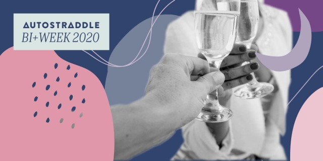 Two people clink champagne glasses, one with painted fingernails, in a field of bi+ flag colors. In the upper left hand corner, a text box reads AUTOSTRADDLE BI WEEK 2020.