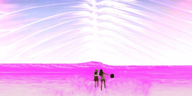 two girls in a big open field holding hands walking towards some unknown
