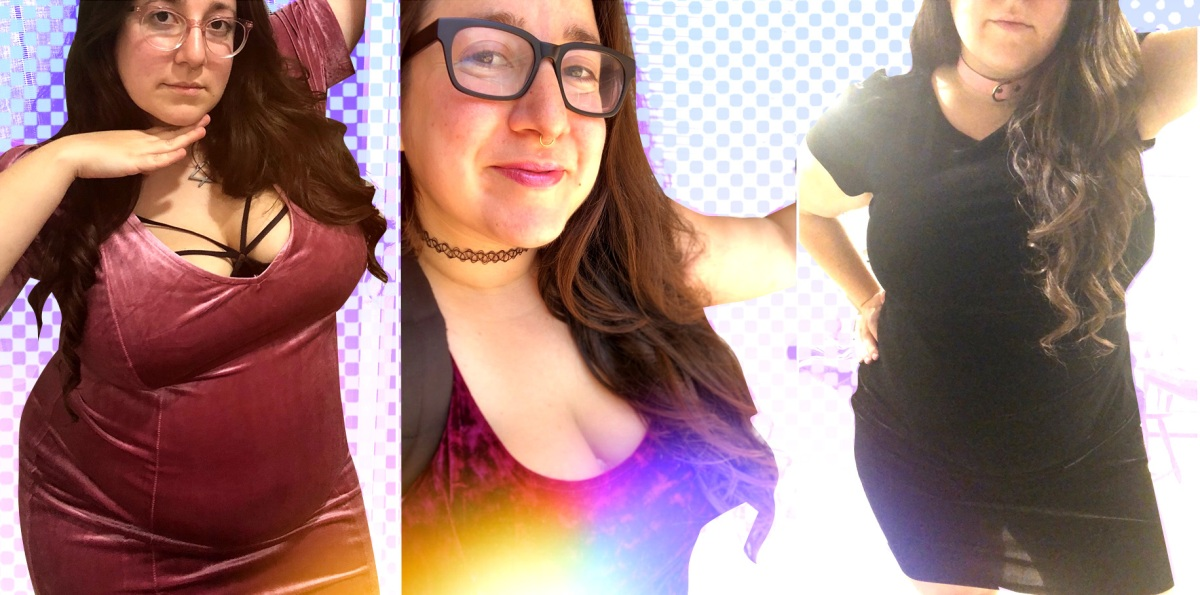 A collage of 3 photos of Vanessa, a fat white woman with long dark hair; in the far left she's wearing a tight dark pink velvet dress with a black cage bra visible; in the center closeup selfie she's wearing a low-cut red crushed velvet dress, and in the far right is wearing a short-sleeved black velvet dress with a sheer skirt.