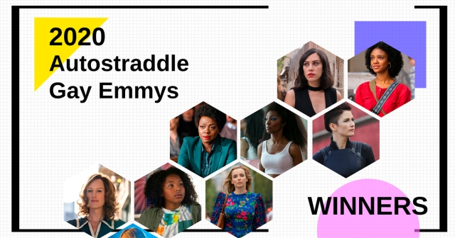 Text: 2020 Autostraddle Gay Emmys Winners. Photos of: Vida, The L Word, How to Get Away With Murder, Pose, Supergirl, and Killing Eve.