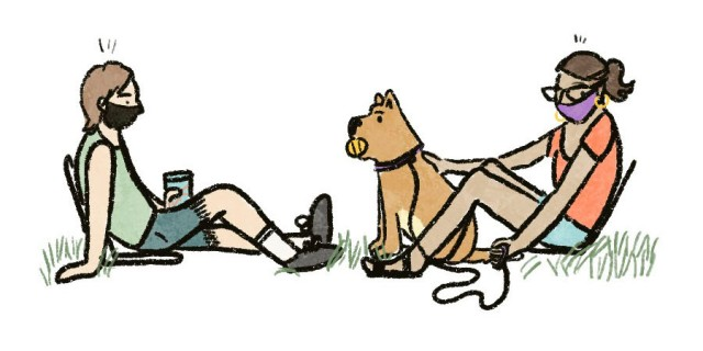 An illustration of two people on a social distance date outside. Both are wearing masks and sitting 6 feet apart, and one is holding the leash of a cute dog.