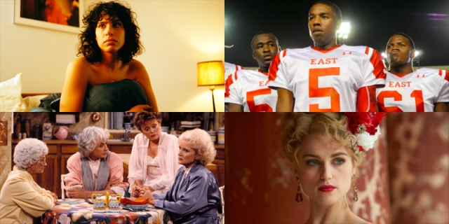 A collage of four shows on our list: The Bisexual, Friday Night Lights, Golden Girls, Dracula.