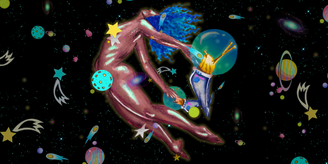 a woman's body floats chest first into a swirl of stars, dust and plants. her head is thrust back and her hands are held behind her by slugs dressed as astronauts.
