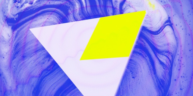 An abstract rendering of a pale lavender triangle with a neon green shape embedded in it rotating through a background of rippled blue and purple