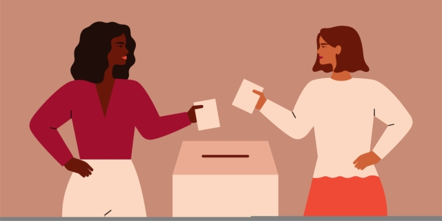 a cartoon of two women, one black and one white, about to put their ballots in a box