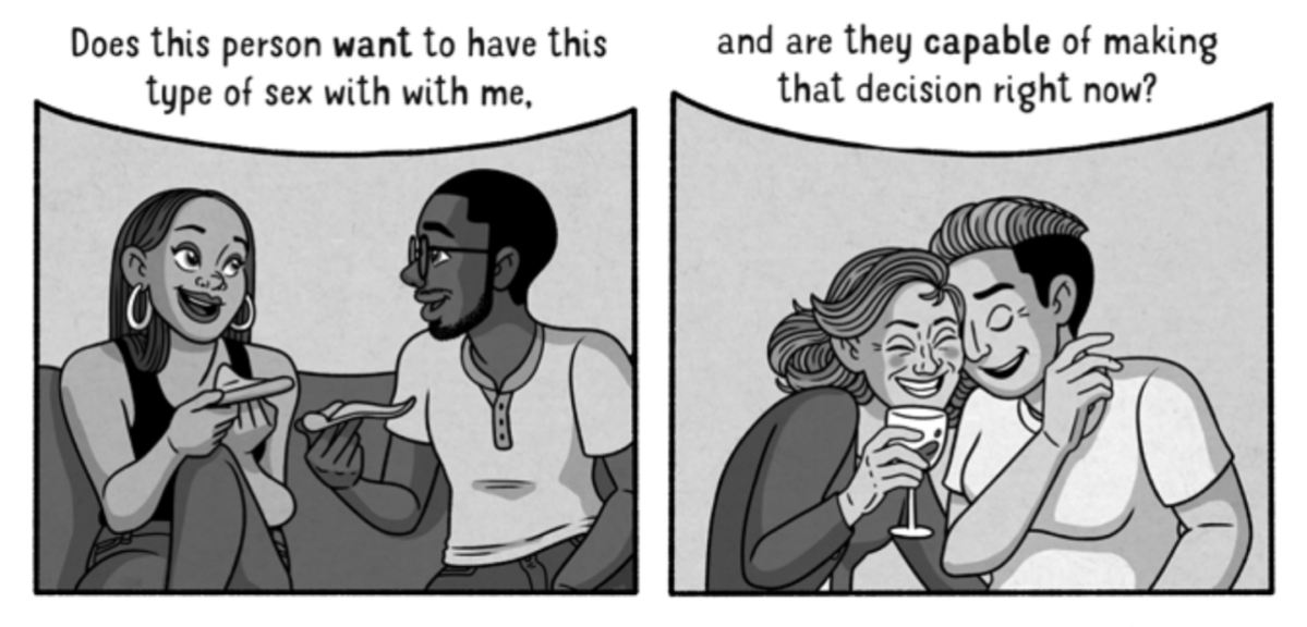 "Two couples are pictured, eating pizza and laughing over a glass of wine respectively; text above them reads ""Does this person want to have this type of sex with me, and are they capable of making that decision right now?"""
