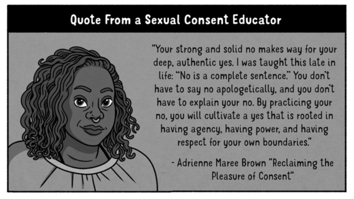 "An illustrated portrait of a Black woman with a soft smile and wavy locs is featured next to a Quote from a Sexual Consent Educator: ""Your strong and solid no makes way for your deep, authentic yes. I was taught this late in life: ""No is a complete sentence."" You don't have to say no apologetically, and you don't have to explain your no. By practicing your no, you will cultivate a yes that is rooted in having agency, having power, and having respect for your own boundaries."" -- Reclaiming the Pleasure of Consent, Adrienne Maree Brown"