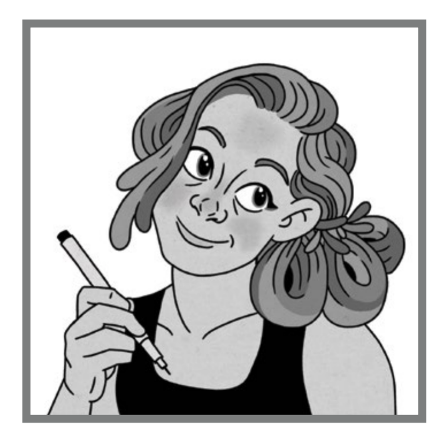 A portrait of the author, with curly hair tied up behind her head and a smile, holding a pen