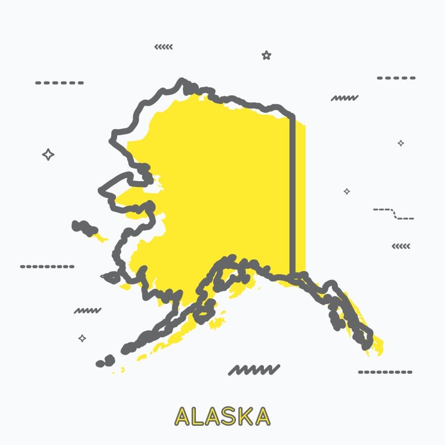 A Yellow Outline of Alaska
