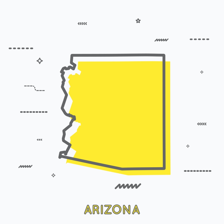 A Yellow Outline of Arizona