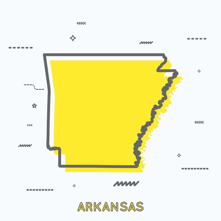 A Yellow Outline of Arkansas