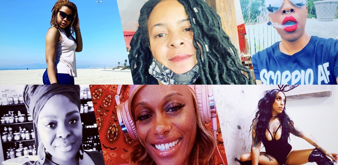 """A six-split diagonal collage featuring six different """"modern"""" Black witches working to dismantle white supremacy and fight racist cops: Mama Sunfiyahh, JujuBae. Bri Luna (The Hoodwitch), Fredericka Turner (Conjuria), Tayannah Lee Mcquillar. And Soulangie Leeper (Òrìsà Child)"""