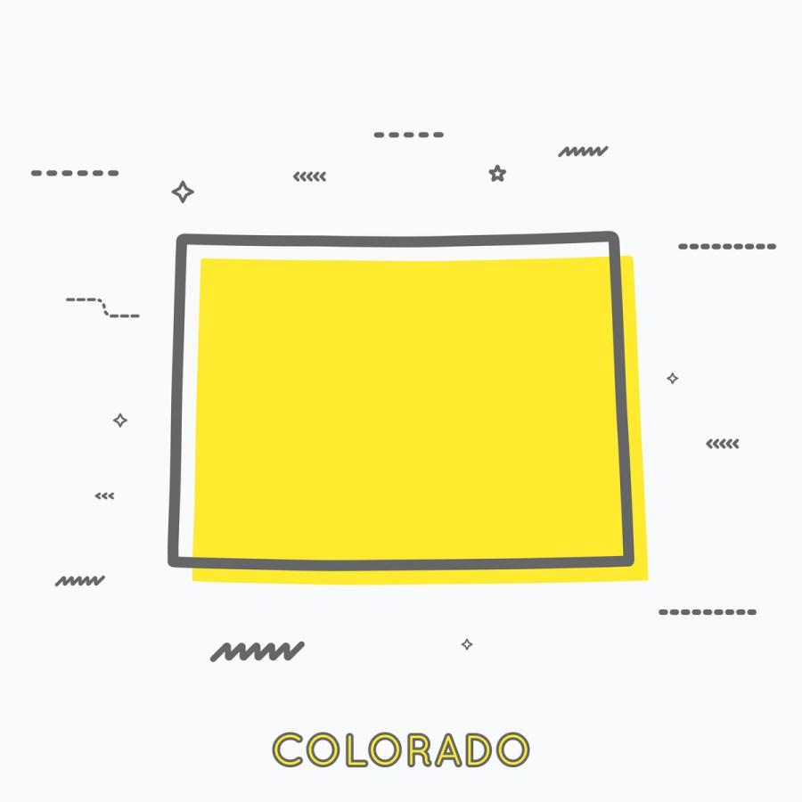 A Yellow Outline of Colorado