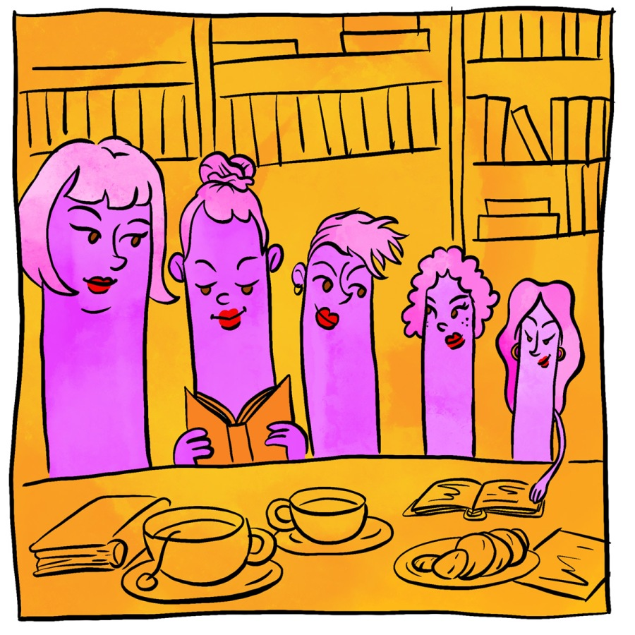 Illustration of an anthropomorphized poly family of Strap On Dialators who are at the dinner table, shelves of books behind them.