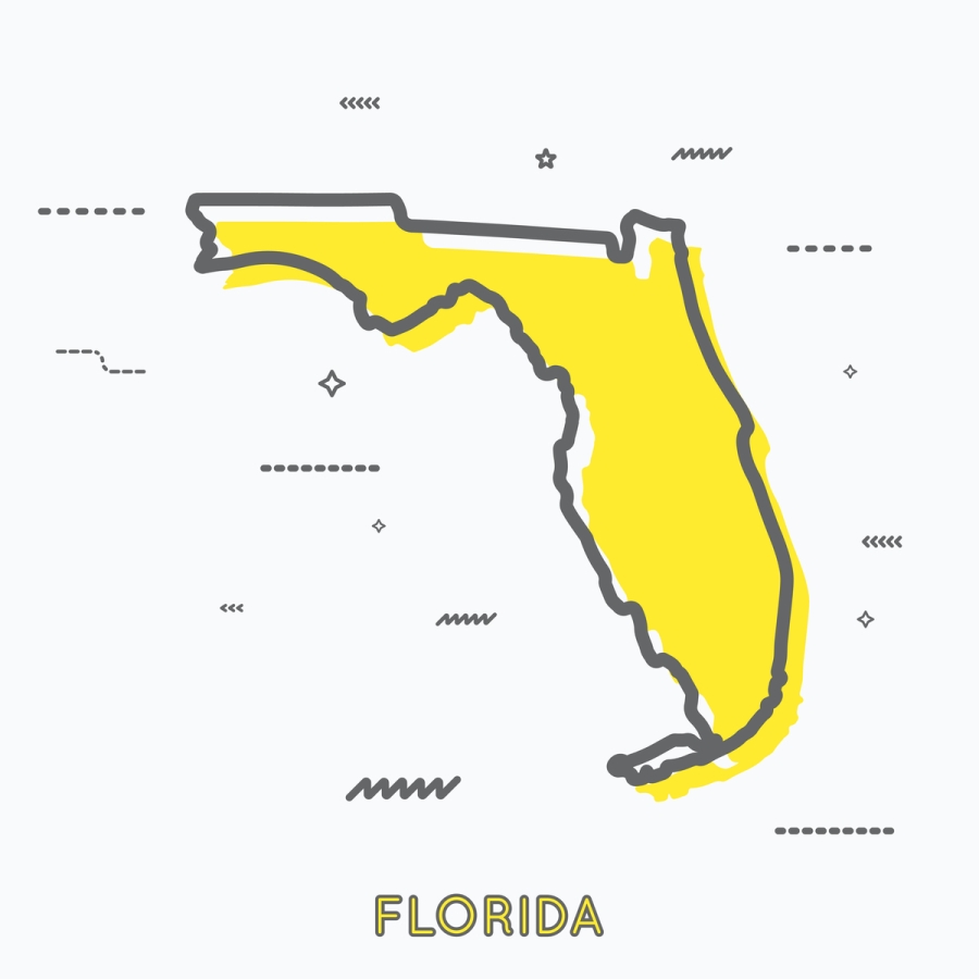 A Yellow Outline of Florida