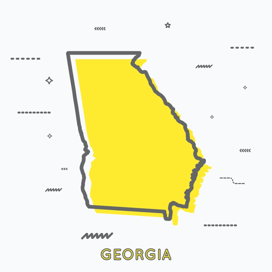 A Yellow Outline of Georgia