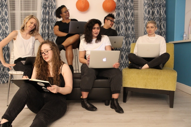 the team: riese, rachel, sarah, carmen, kamala, and laneia look concerned while staring at their computers