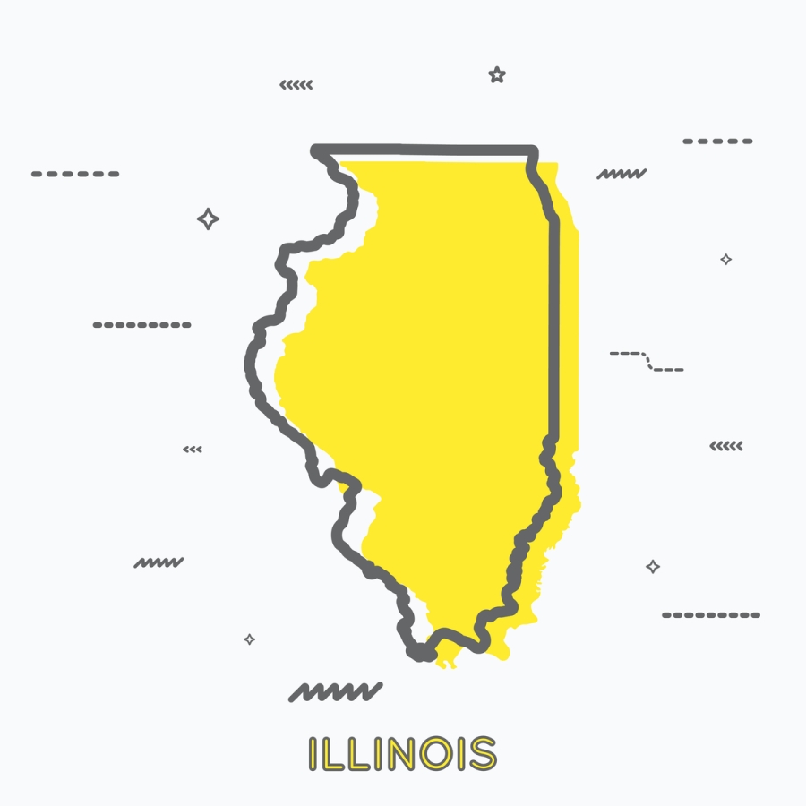 A Yellow Outline of Illinois