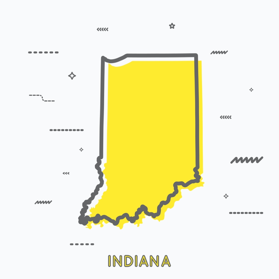 A Yellow Outline of Indiana