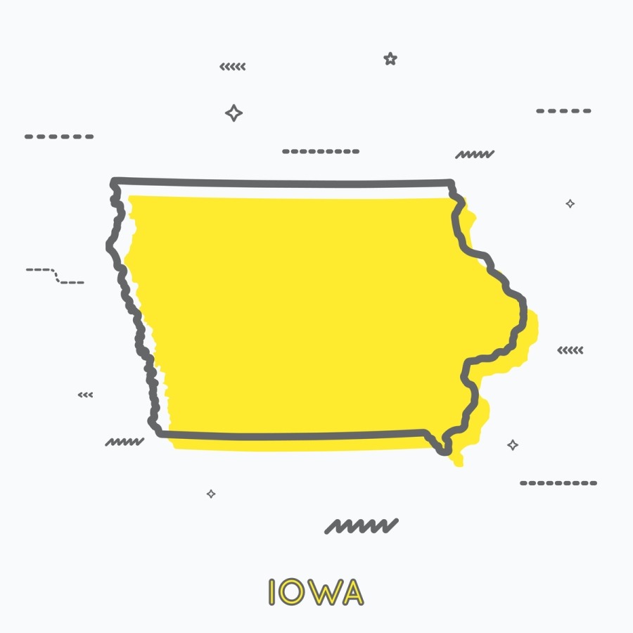 A Yellow Outline of Iowa
