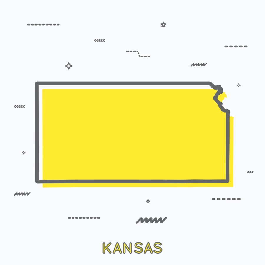 A Yellow Outline of Kansas