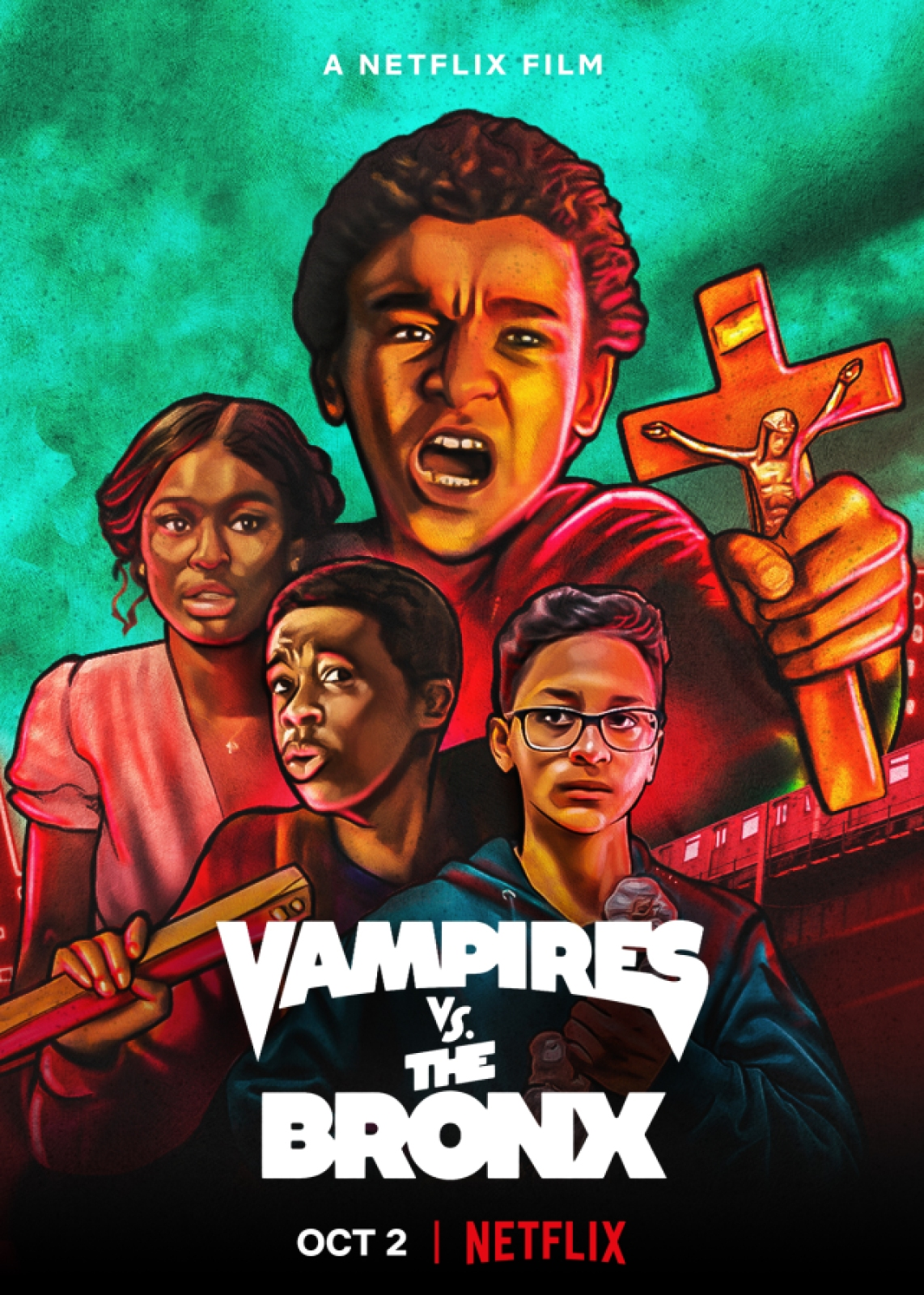 The poster of Vampires vs. The Bronx on Netflix, in which four Black and Latinx Teens are hand drawn holding roses and stakes while they fight vampires.