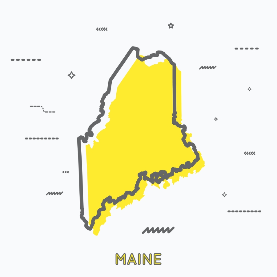 A Yellow Outline of Maine