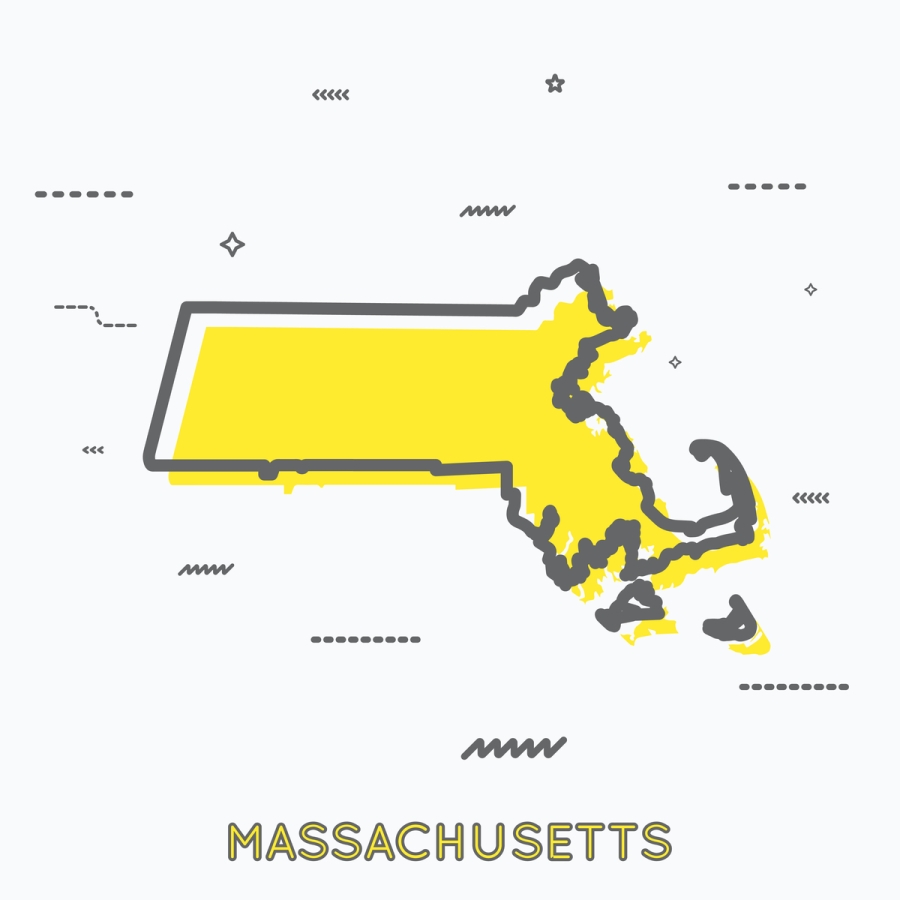 A Yellow Outline of Massachusetts