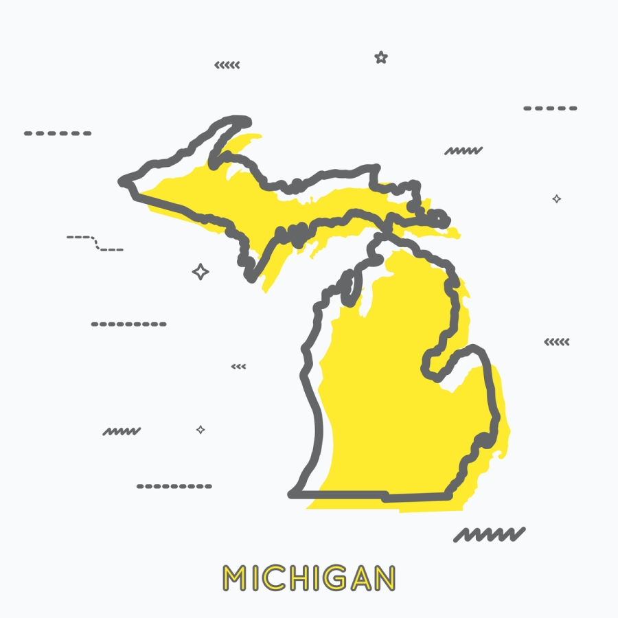 A Yellow Outline of Michigan